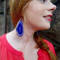 Handcrafted Agate Slice Dangle Earrings - Availabe in Many Colors