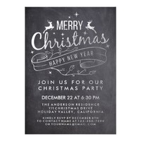 Black White Chalkboard Holly Merry Christmas Party Card