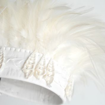 White Mermaid Fairy Crown Feather Headdress Shell & White Leather