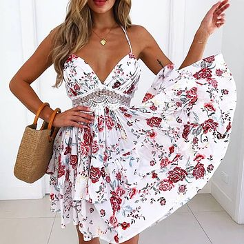 Summer Fashion Women Sexy Stylish Red Floral Print Backless V Collar Dress