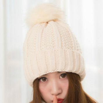 BONJEAN Winter Knitted Cap Crochet Rabbit Fur Pom Balls Warm Beanies Ear Protect Cap Women Hats Ball Knitted Bonnet Skullies