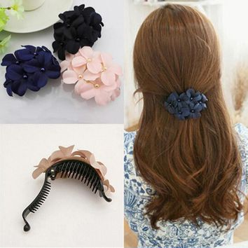 4.5*4.4CM Cute Sweet Fabric Flower Hair Clip Headwear Hair Band for Women Girl Hair Accessories Hair Clips Claws Clamps