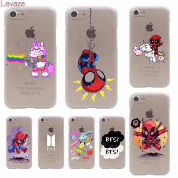 Deadpool Dead pool Taco Lavaza  Unicorns Spiderman BTS Hard Phone Cover Case for Apple iPhone 7 8 Plus X 8 7 6 6s 5 5s SE for iPhone 7 Case AT_70_6