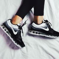 NIKE Trending Fashion Casual Sports Shoes AirMax section Black White Gradient I