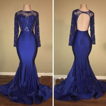 Blue Mermaid Lace Backless Long Prom Dress