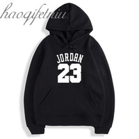 Autumn 2017 New Women/Men's Casual Players JORDAN 23 Print Hedging Hooded Fleece Sweatshirt Hoodies Pullover black Size M XL XXL