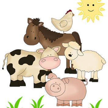 BARNYARD FARM ANIMALS Wall Art Mural Decals Baby Nursery Girl Boy Kids Room Childrens Bedroom Playroom Horse Pony Cow Stickers Church Decor