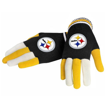 Pittsburgh Steelers Forever Collectibles Multi Colored Knit Gloves Ladies One Size
