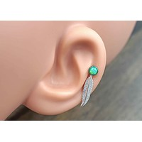 Feather Green Opal 16 Gauge Cartilage Earring (8mm Post) Tragus Monroe Helix Piercing You Choose Stone Size