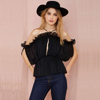 Black Halter Peplum Top Ruffled Blouse