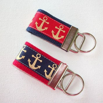 Key FOB / KeyChain / Wristlet  - metallic gold anchors - nay red - bridesmaid - friend gift - coworker - nautical - finger fob