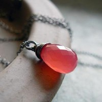 Hot Pink Chalcedony Oxidized Sterling Silver by sleepymoondesign