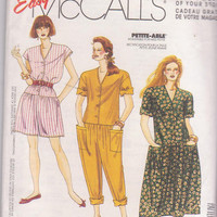 Sewing pattern for loose fitting summer jumpsuit or dress with button front misses size 10 12 14 16 18 20 McCall's 0022 UNCUT