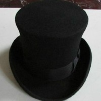 Black 100% Wool Victorian Mad Hatter Top Hat, Vivi,Magic Hat,Performing Cap Hot