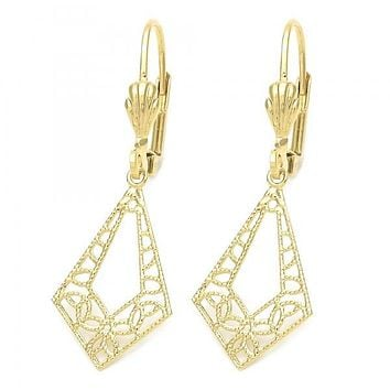 Gold Layered 5.103.017 Dangle Earring, Filigree Design, Golden Tone