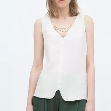 White V-Neck Chain Cutout Back Asymmetrical Shirt