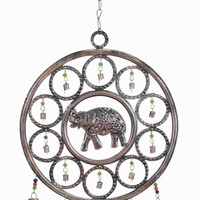 """Benzara 25""""H Durable Metal Wind Chime with An Elephant Themed Design"""