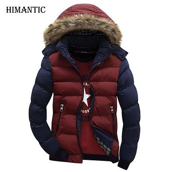 Hooded Design Men Casual Fit Men's Winter Coat Stand Collar Thick Jacket Solid Color