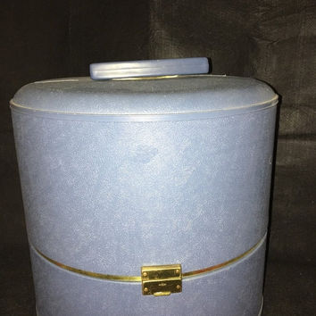 HOLIDAY SALE Vintage 1950's Blue Miners Wig Case Hat Box Travel Luggage Storage