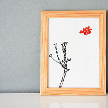 Wall art minimal black and white landscape red sealing wax wooden frame
