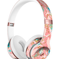 Teal and Coral Whispy Feathers Full-Body Skin Kit for the Beats by Dre Solo 3 Wireless Headphones