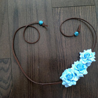 Blue Rose Side Flower Headband, Flower Crown, Flower Halo, Festival Wear, EDC, Neon, Coachella, Ezoo,Ultra Music Festival, Rave