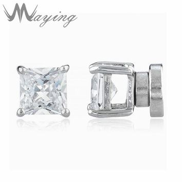 Punk Silver Tone Clear Cubic Zirconia Square Magnetic Non Piercing Stud Earrings for Mens Womens Cz Stone Ear Studs Jewelry