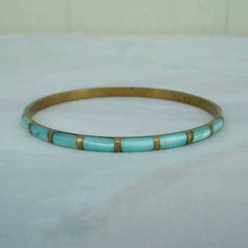 Moonglow Bangle Bracelet Teal Brass Inlaid Vintage Jewelry