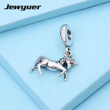 Unicorn Dangle Charms 925 Sterling Silver pendants for jewelry making DIY assessories fit bead bracelet Jewyuer Jewelry GD034