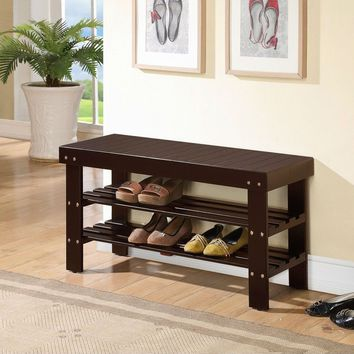 Solid Wood Espresso Color Shoe Rack With Bench