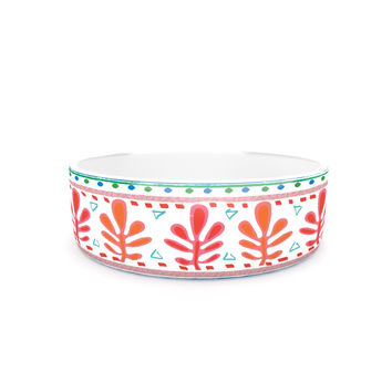 "Nika Martinez ""Spring Strawberries"" Pink White Pet Bowl"