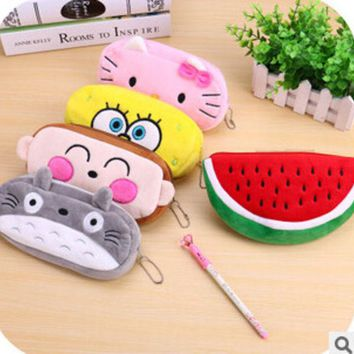 ac VLXC Kawaii Cartoon Animal Large Capacity Plush Pencil Holder Storage Pouch Cosmetic Bag Promotional Gift Stationery