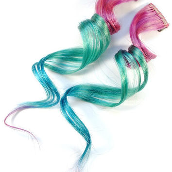 Pastel Paradise / Human Hair Extension / by MissVioletLace on Etsy