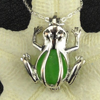 Frog Necklace, Frog Jewelry, Sea Glass Necklace, Green Frog Locket