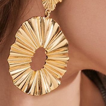 Waiting For The Sun Gold Dangle Hoop Textured Dangle Earrings