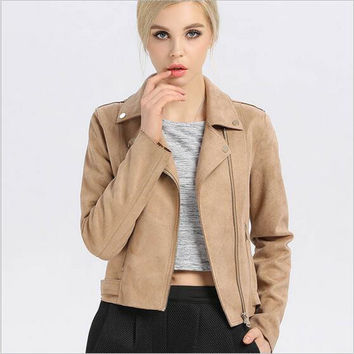 Leather Jacket Women High Quality Suede 2017 Spring Booty Brand Motorcycle Biker Leather Suede Coat Blouson