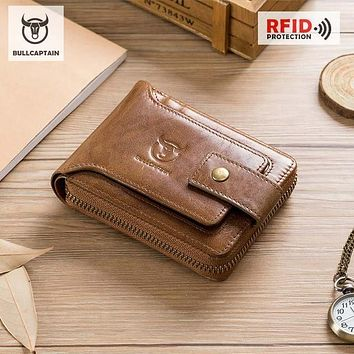 BULLCAPTAIN Men Genuine BROWN Leather Brand RFID Wallet Male Organizer Coin Purse Pockets Slim Fashion Zipper Clamp Wallet Card Holder FREE SHIPPING