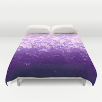 Lavender Purple Ombre Crystals Duvet Cover by 2sweet4words Designs