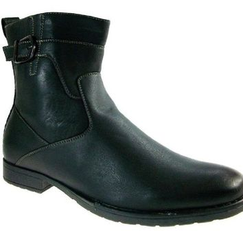 Men's Polar Fox Calf High Single Buckle Dress Boots 691 Black-162