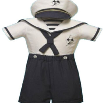 Baby Boy Christening Sailor Dress Outfit Sizes Xs-s-m-l-xl /#2046 Navy