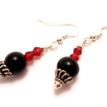 Black Round Earrings with Red Bicone Accents and by Septagram