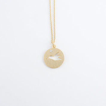 Gold hummingbird necklace with cubic zirconia gemstone | Stamped jewelry, Circle necklace, Woodland jewelry