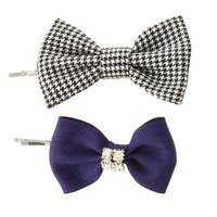 Houndstooth & Rhinestone Hair Bows - 2 Pack