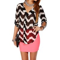 Black/White Chevron Blouse