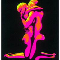 Flaming Love Black Light Poster