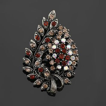 baiduqiandu Assorted Colors Red Coffee Blue and Purple Crystal Rhinestones Flower Leaf Brooch Pins in Antique Vintage