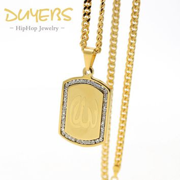 DUYEBS Muslim allah  army card pendant Hiphop gold-color  titanium Steel 70cm long Chain fashion statement necklace  Men jewelry