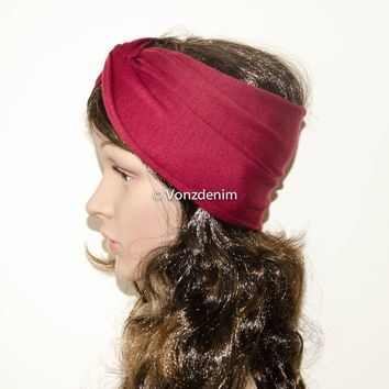 Jersey Twist Headband, Yoga headband, Women's Hair Wrap, Hair Accessories, Wide Maroon Turban Headband