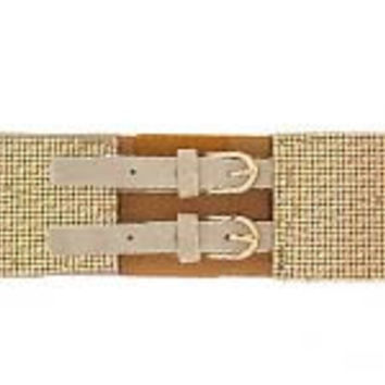 Flashy Gold Detail Double Buckle Belt