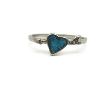 Heart with Arrow Ring - Turquoise Midi Ring Promise Sweetheart